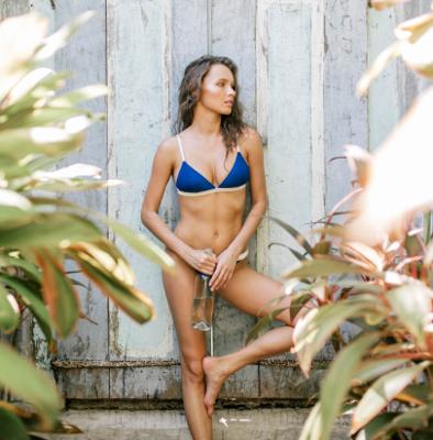 two tone bikini top multi & bend detail bikini bottom multi